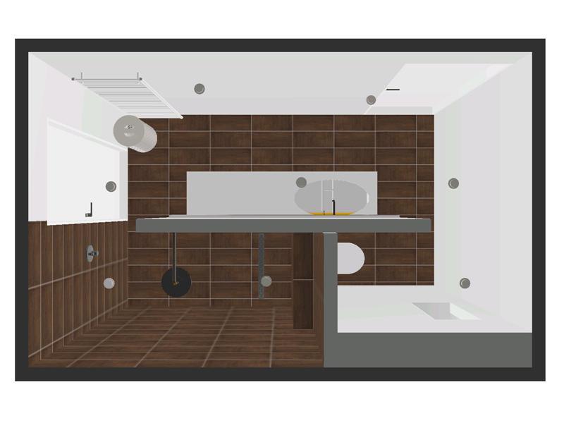 Badkamer met oranje badkamer meubel - Kleine badkamer met douche al italiaanse ...