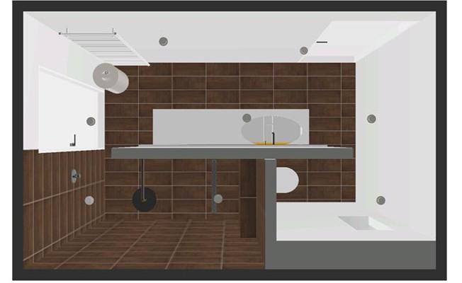 Badkamer met oranje badkamer meubel - Douche italiaanse muur ...