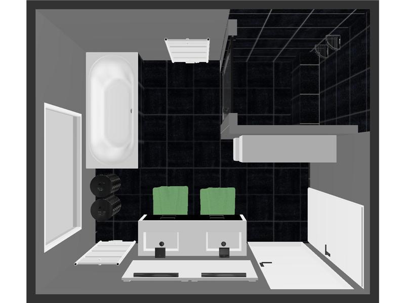 Moderne badkamer met gestukadoorde muren en tegels - Badkamer muur tegel ...