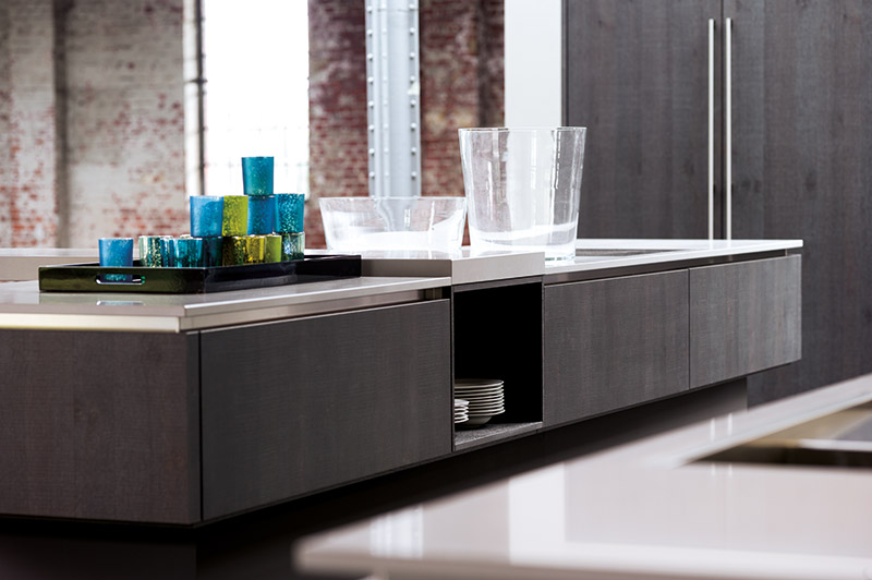 Eiken Keukens Logen : Systemat AV 6022 GL zilver eiken zaagruw